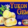 Yukon Gem label. Golden potato with pink eyes.