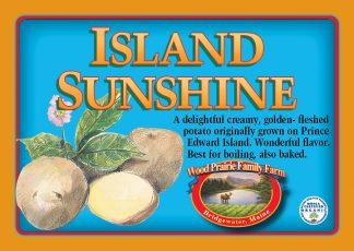 Island Sunshine label. Creamy, golden-fleshed potato.