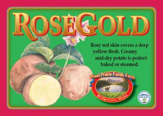 Rose Gold label. Rosy red skinned potato with yellow flesh.