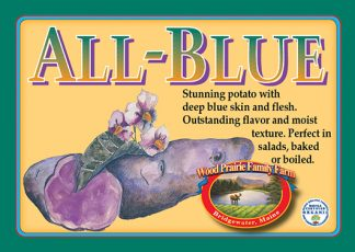 All-blue label. Blue skinned and fleshed soft potato.