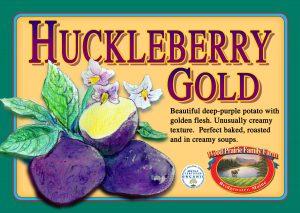 Huckleberry Gold label. Beautiful deep-purple potato with golden flesh.