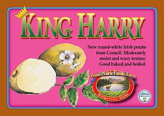 King Harry label. Round-white irish potato.